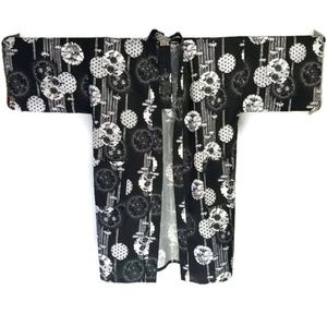 NEW Cotton Kimono Happi Coat Black White Lantern